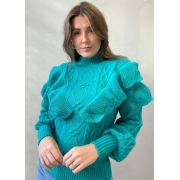 Blusa de tricot com babados Verde