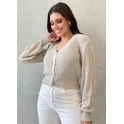 Blusa de tricot com botões bege