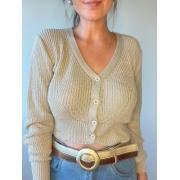 Blusa de tricot com botões beje