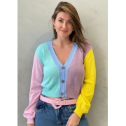 Blusa de tricot com botões colors