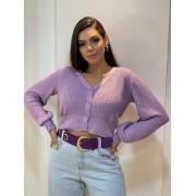 Blusa de tricot com botões Lavanda