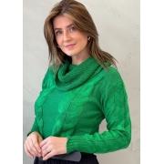 Blusa de tricot verde com gola