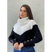 Blusa de tricot gola alta botões preto