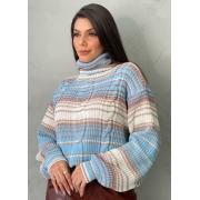 Blusa de tricot mescla azul gola alta