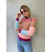 Blusa de tricot pied poule