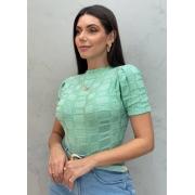 Blusa de Tricot retângular Bri verde claro