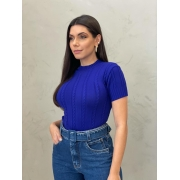 Blusa de Tricot trança azul bic