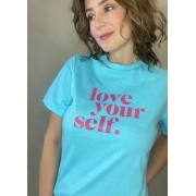 Camiseta de Algodão Love azul