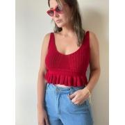 Cropped de tricot com babado vermelho