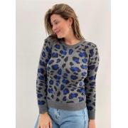 Suéter Cinza Animal Print Azul