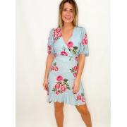 Vestido Curto Azul Floral e Poá