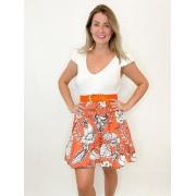 Vestido curto estampado laranja