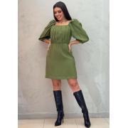 Vestido curto verde em viscose