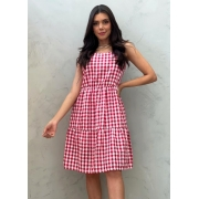 Vestido curto xadrez vermelho