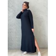 Vestido de moletinho preto gola alta