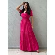 Vestido longo acinturado pink