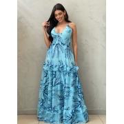 Vestido longo corais azul