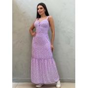 Vestido longo estampado lilás