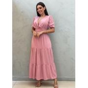 Vestido Midi acinturado rosa queimado