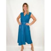Vestido Midi Azul  com Faixa