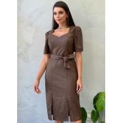 Vestido Midi em couro ecológico marrom