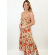 Vestido midi nude floral
