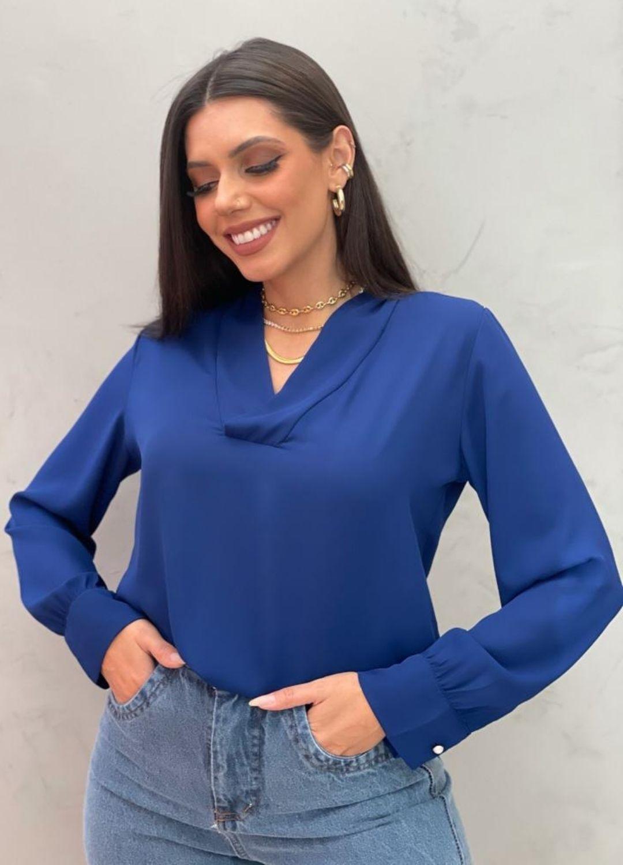 Blusa Azul manga longa em chiffon