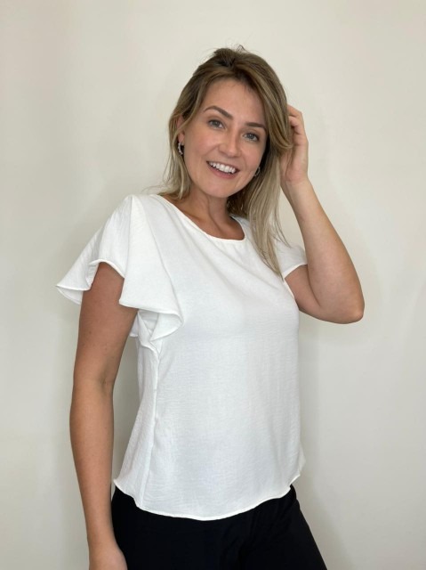 Blusa Branca Manga Curta