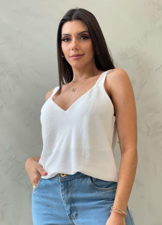 Blusa de crepe decote v branca