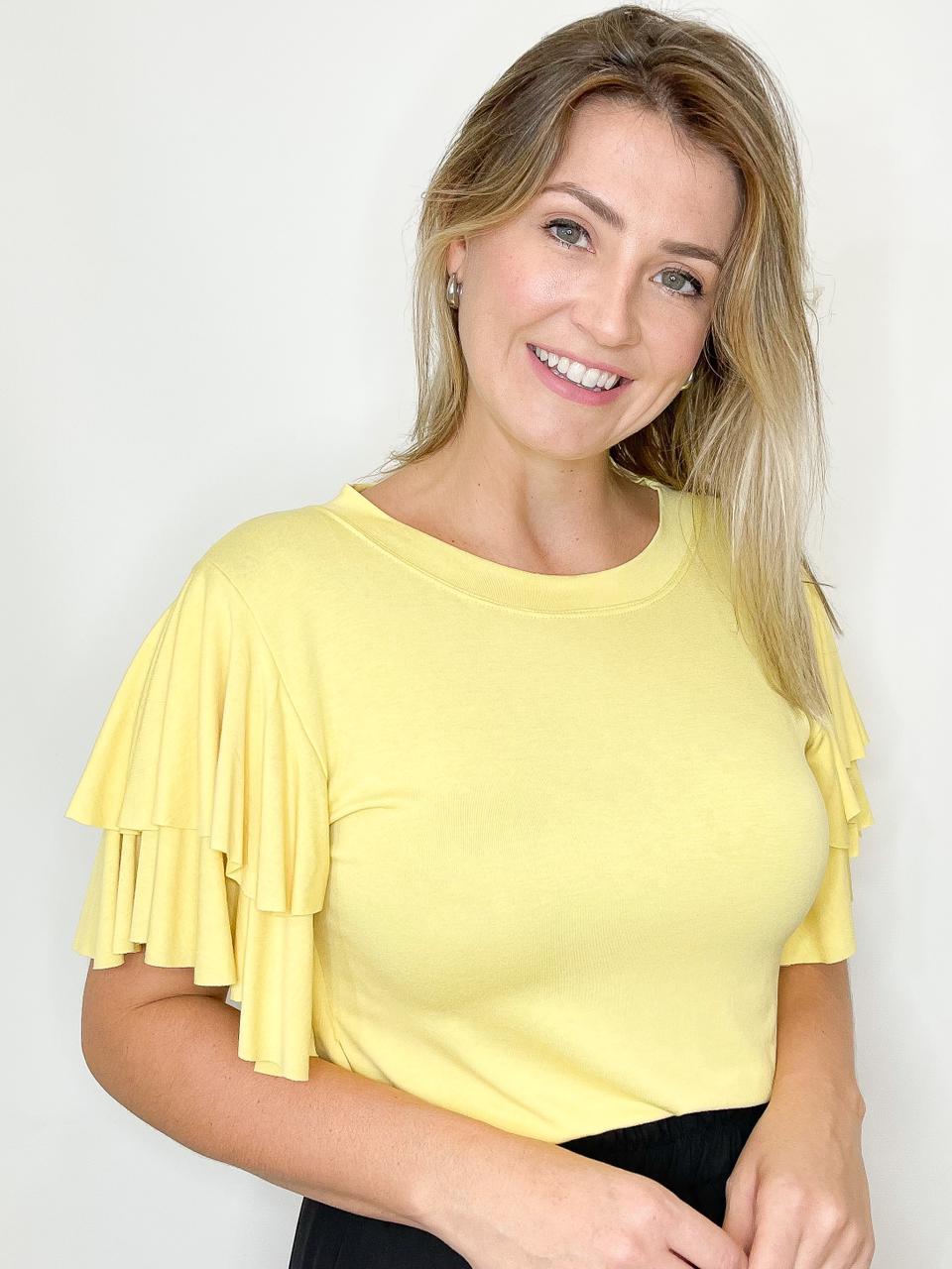 Blusa de Malha com Babados Amarela