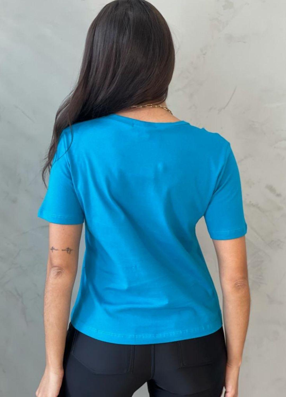 Blusa de Malha vazada azul