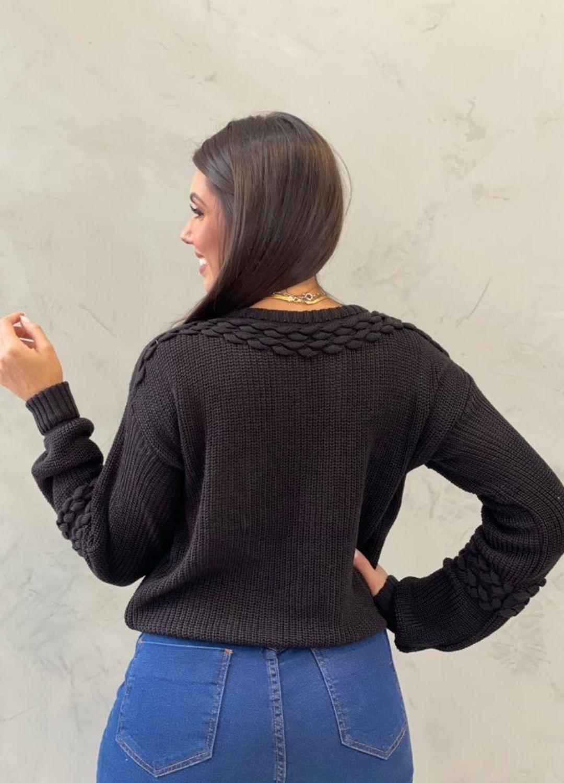 Blusa de tricot  preto
