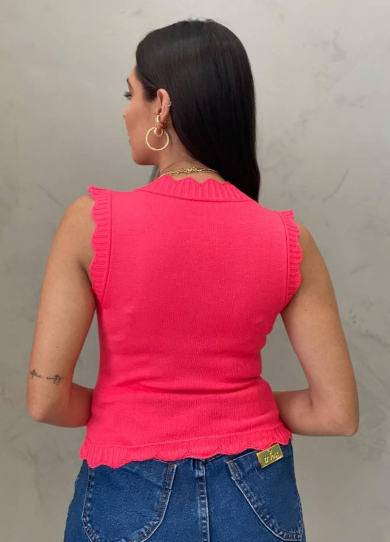 Blusa de Tricot babado rosa