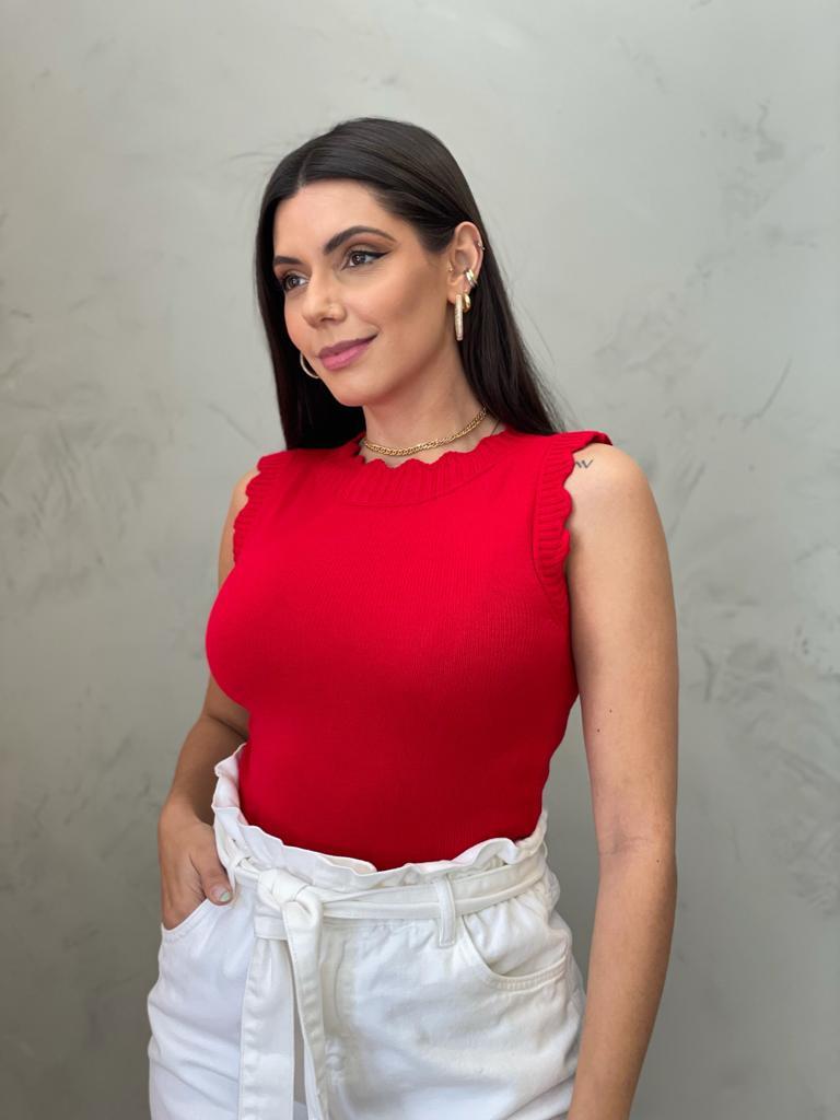 Blusa de Tricot babado vermelha