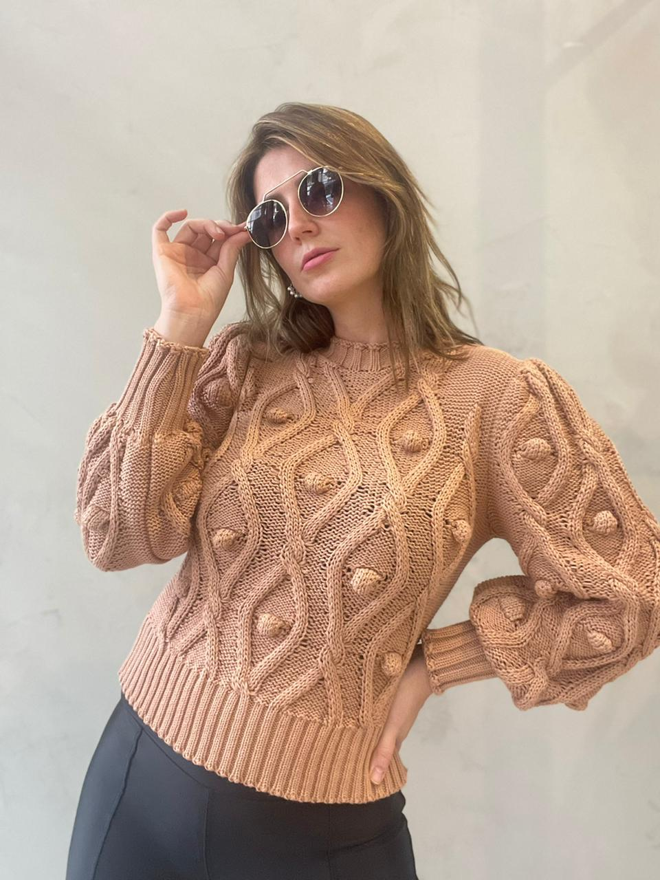 Blusa de tricot Bege