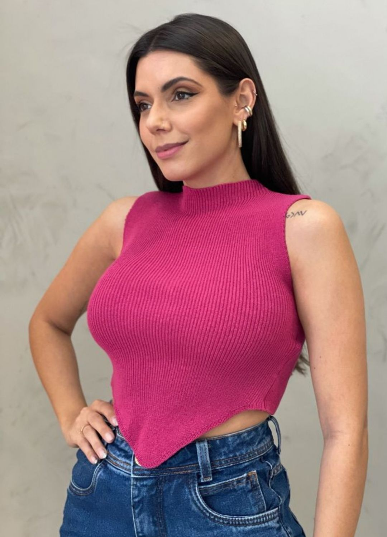 Blusa de  Tricot bico rosa