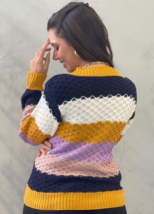Blusa de tricot Colméia