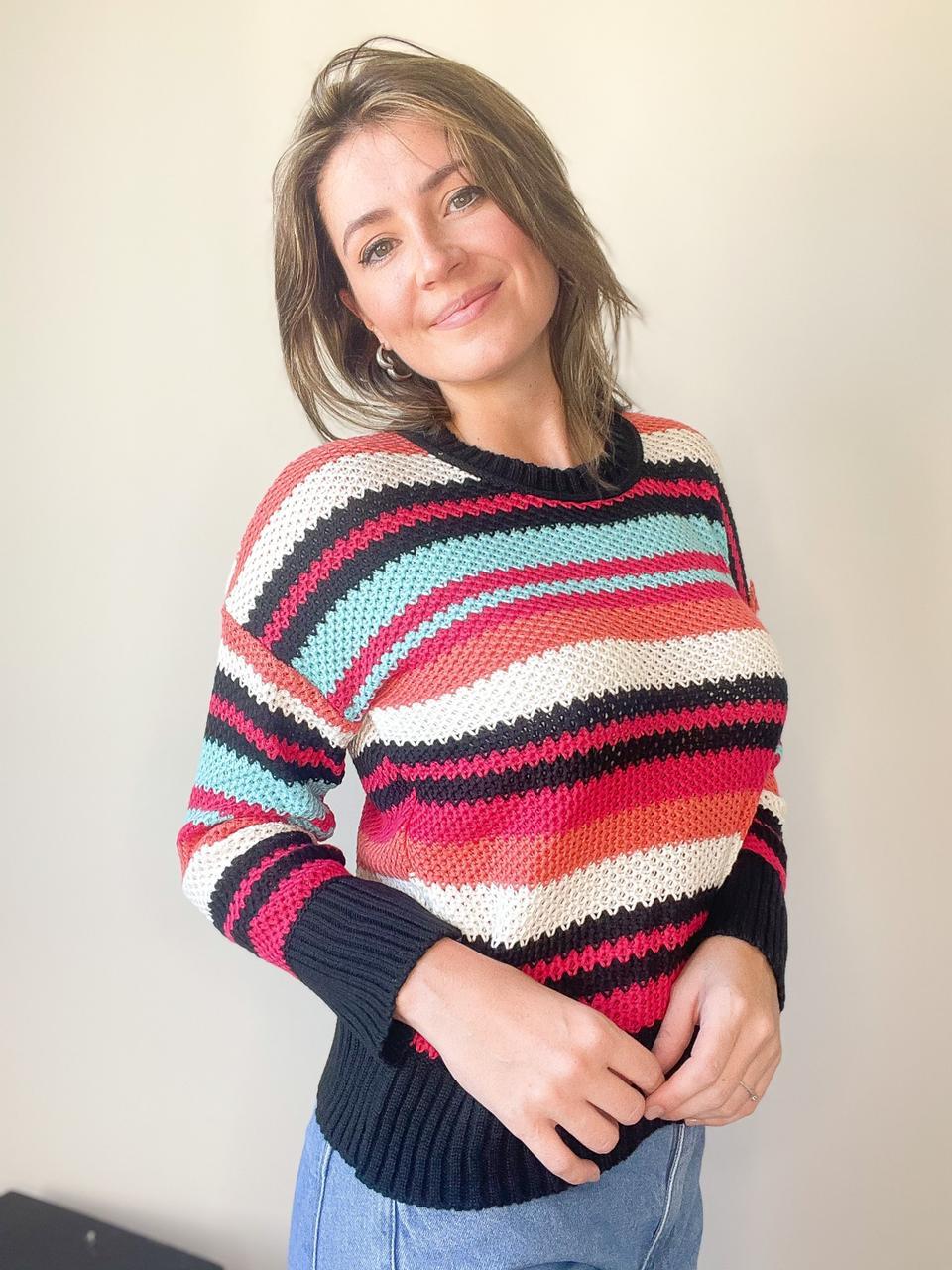 Blusa de tricot colors listrada