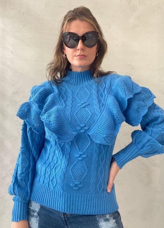 Blusa de tricot com babados Azul