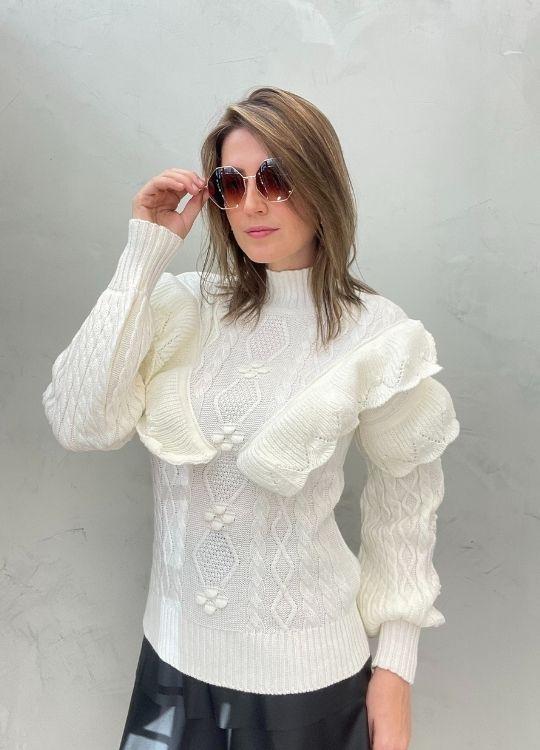 Blusa de tricot com babados OFF