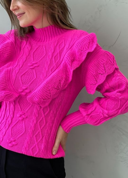 Blusa de tricot com babados pink
