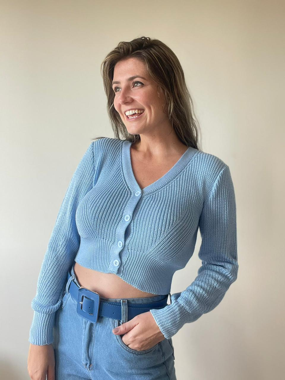 Blusa de tricot com botões Azul Bebe
