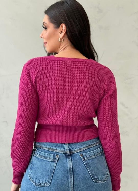 Blusa de tricot com botões Fúcsia