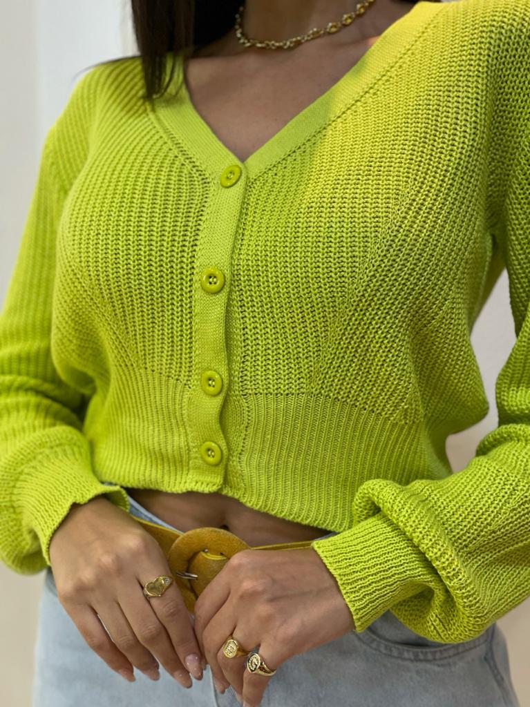 Blusa de tricot com botões Verde