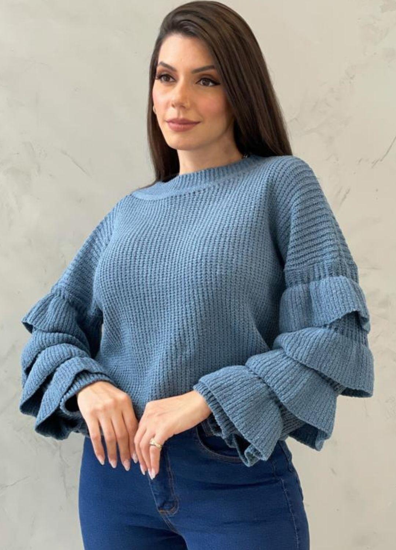 Blusa de tricot com manga de babados Azul Petróleo