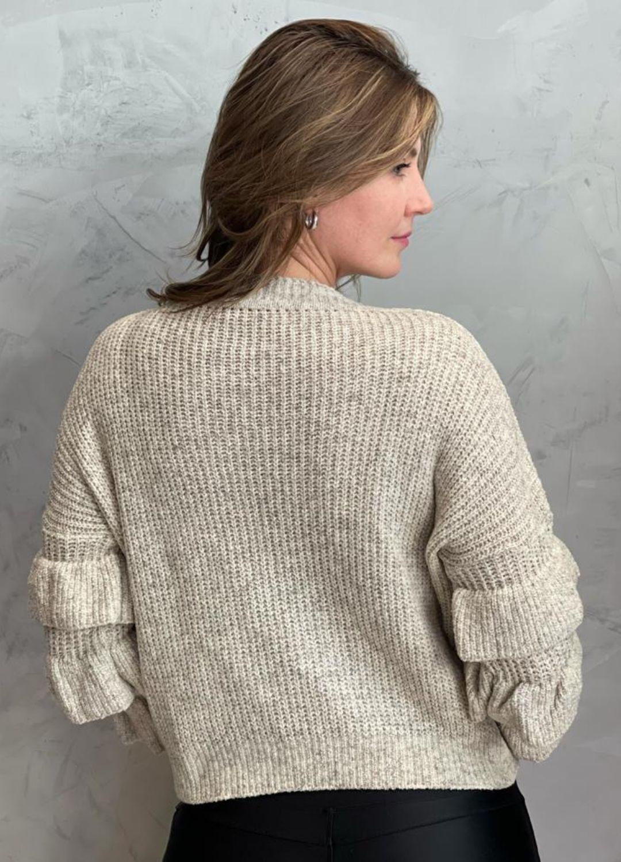 Blusa de tricot com manga de babados Cru