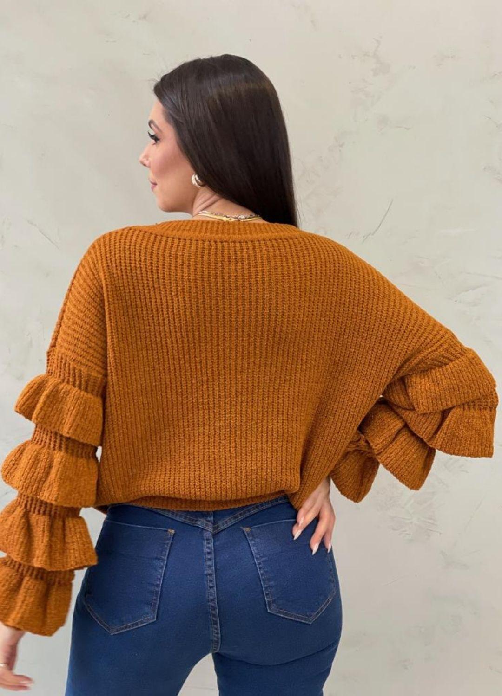 Blusa de tricot com manga de babados Mostarda quente