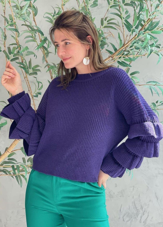 Blusa de tricot com manga de babados Roxa