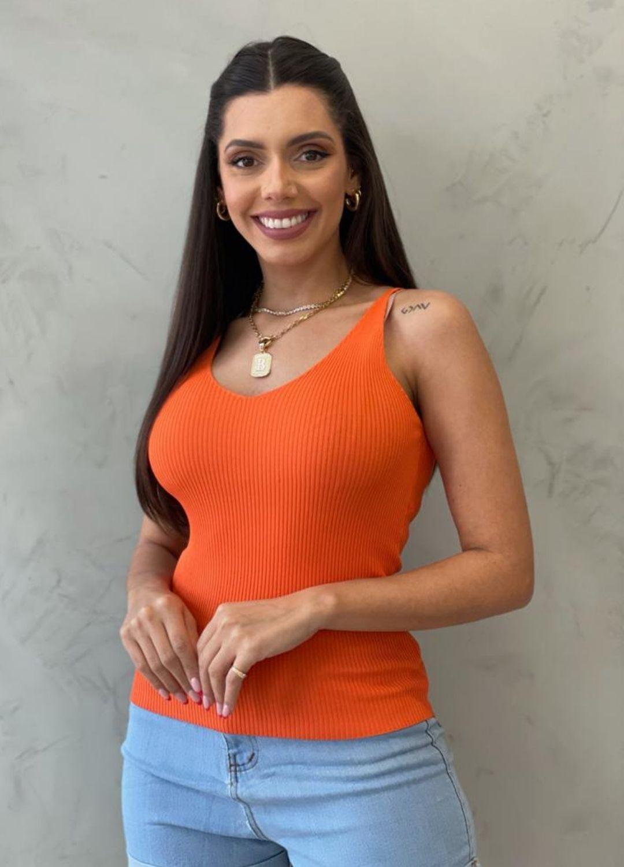 Blusa de Tricot de alça laranja