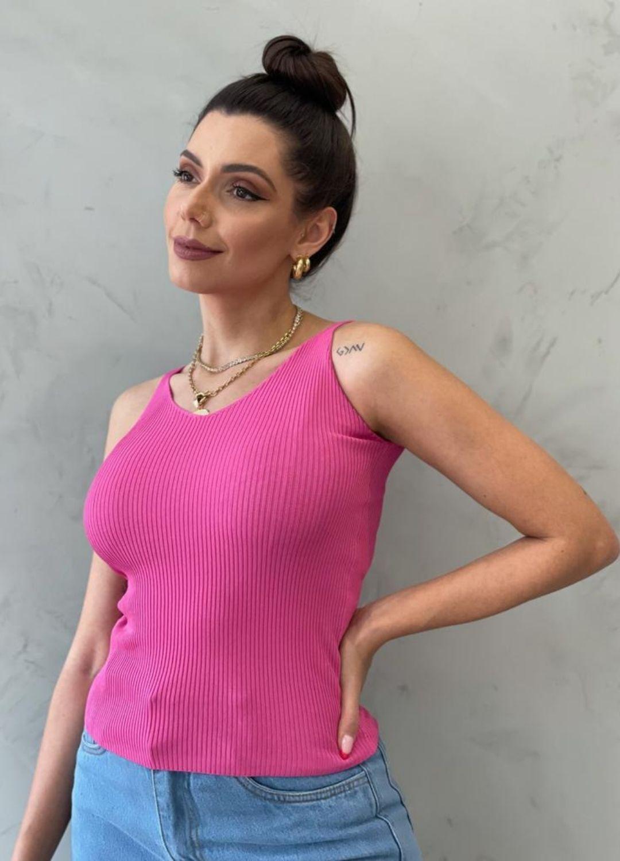 Blusa de Tricot de alça pink